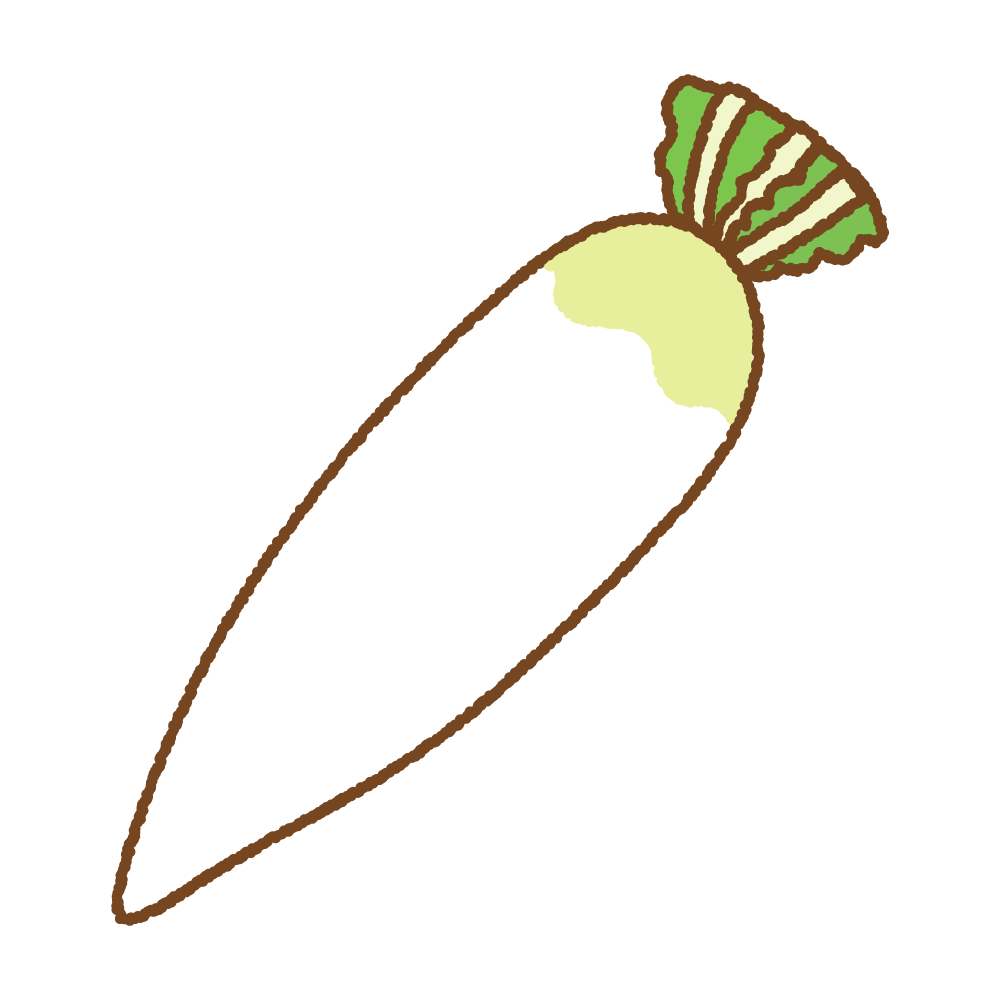 大根のフリーイラスト Clip art of daikon radish