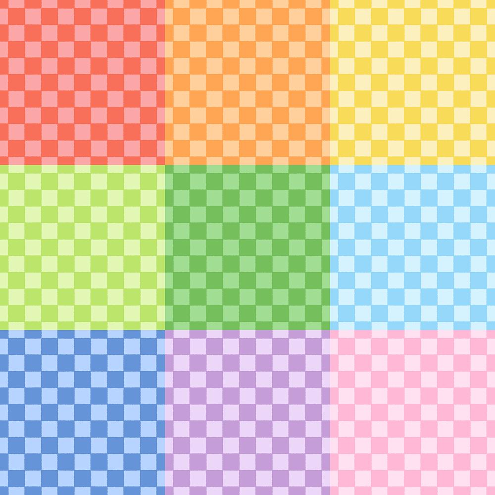 いろんな色の市松模様パターンのフリーイラスト Clip art of ichimatsu-moyou