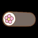 花の飾り太巻きのフリーイラスト Clip art of futomaki-flower