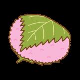 関西風の桜餅のイラスト