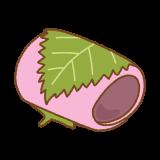 関東風桜餅のフリーイラスト Clip art of sakuramochi