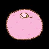 桜の塩漬けがのった桜餅のフリーイラスト Clip art of sakuramochi