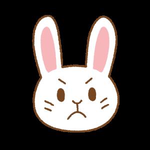 怒ったウサギの顔のフリーイラスト Clip art of angry rabbit