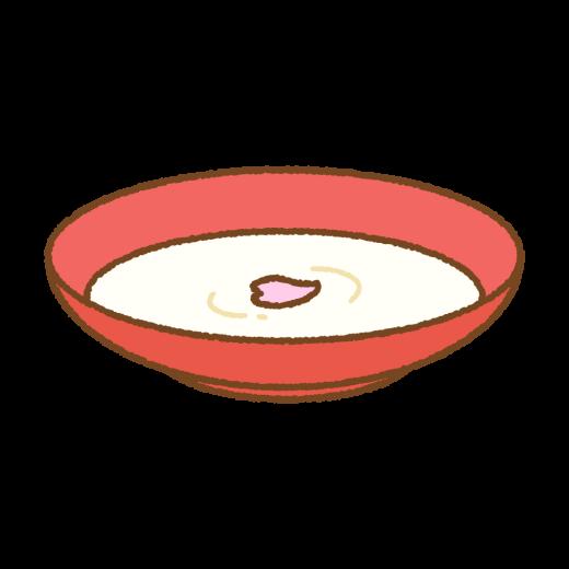 桜の花びらが浮いた甘酒のイラスト