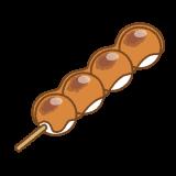 みたらしだんごのフリーイラスト Clip art of mitarashi-dango