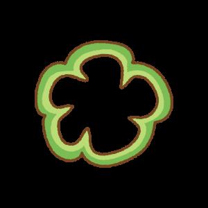 緑のパプリカの輪切りのフリーイラスト Clip art of green paprika slice