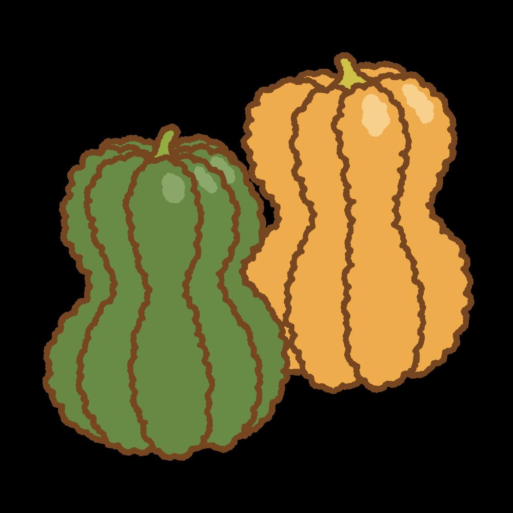 鹿ケ谷カボチャのフリーイラスト Clip art of shishigatani-kabocha pumpkin