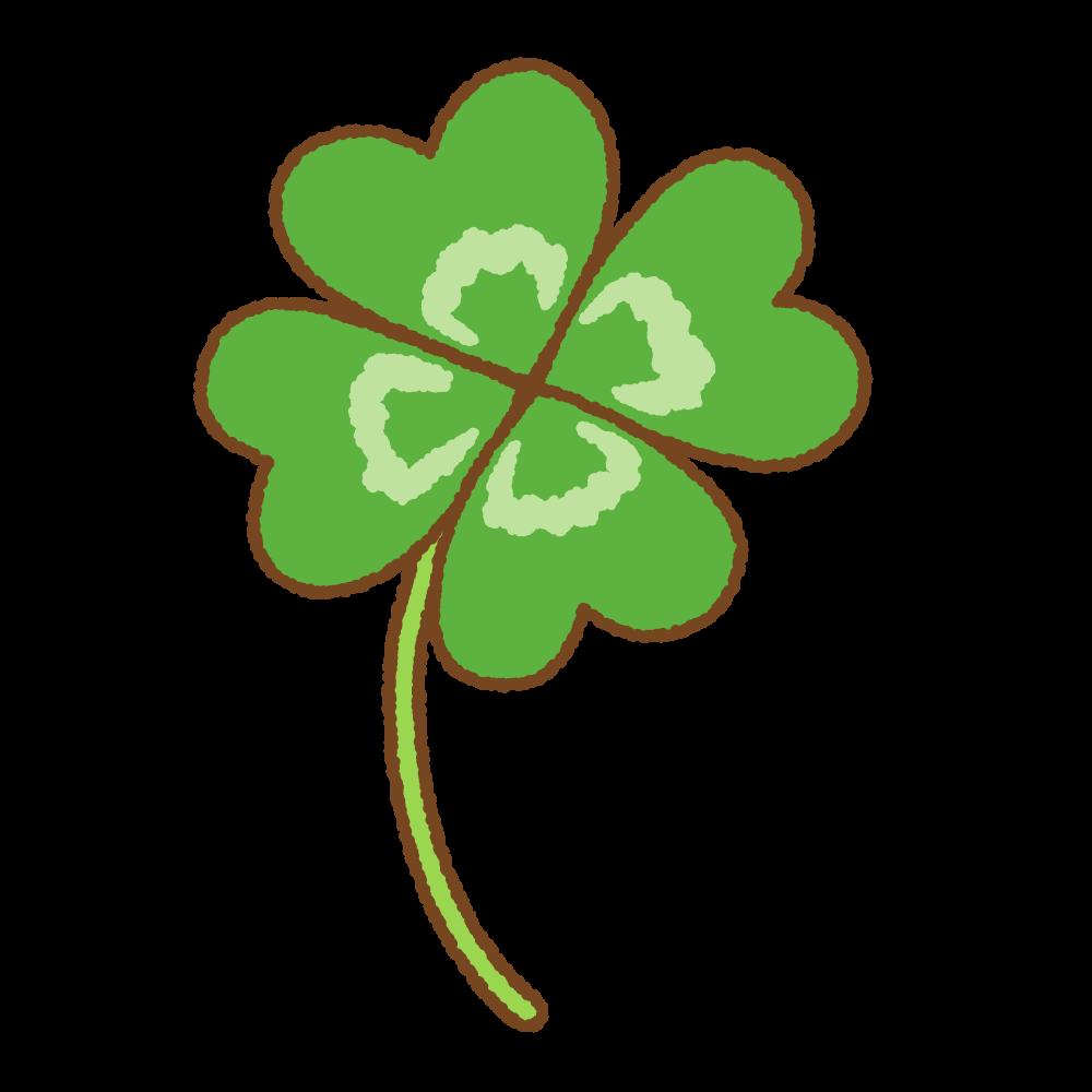 四葉のクローバーのフリーイラスト Clip art of four-leaf clover