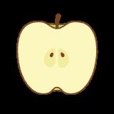 青リンゴの断面のフリーイラスト Clip art of green-apple cut