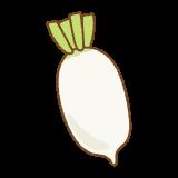 辛味大根のフリーイラスト Clip art of karami-daikon radish