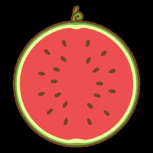 スイカのフリーイラスト Clip art of watermelon