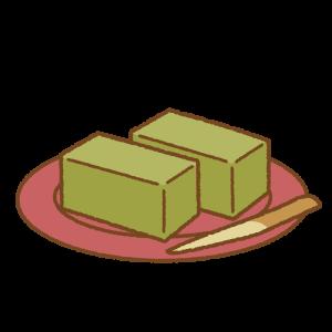 抹茶ようかんのフリーイラスト Clip art of matcha-youkan