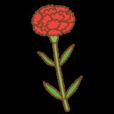 赤いカーネーションのフリーイラスト Clip art of red carnation