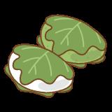 柏餅のフリーイラスト Clip art of kashiwa-mochi