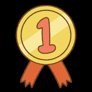 金のメダルのフリーイラスト Clip art of No.1 medal
