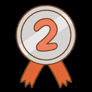 2位のメダルのフリーイラスト Clip art of No.2 medal