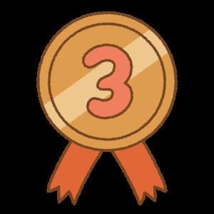 3位のメダルのフリーイラスト Clip art of No.3 medal