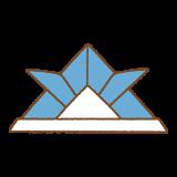 青い折り紙カブトのフリーイラスト Clip art of blue origami kabuto