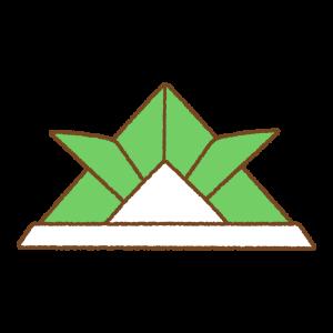 緑の折り紙カブトのフリーイラスト Clip art of green origami kabuto