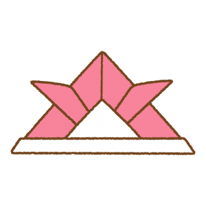 ピンクの折り紙カブトのフリーイラスト Clip art of pink origami kabuto