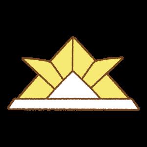 黄色い折り紙カブトのフリーイラスト Clip art of yellow origami kabuto