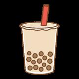タピオカミルクティーのフリーイラスト Clip art of tapioca milk tea