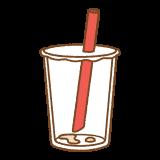 飲み終わったタピオカミルクティーの容器のフリーイラスト Clip art of finished drinking tapioca milk tea