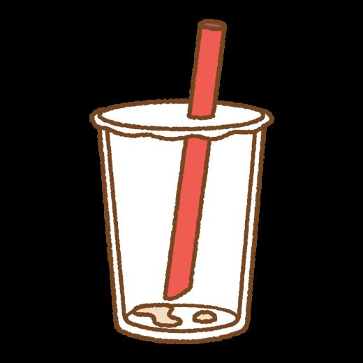 飲み終わったタピオカミルクティーのイラスト