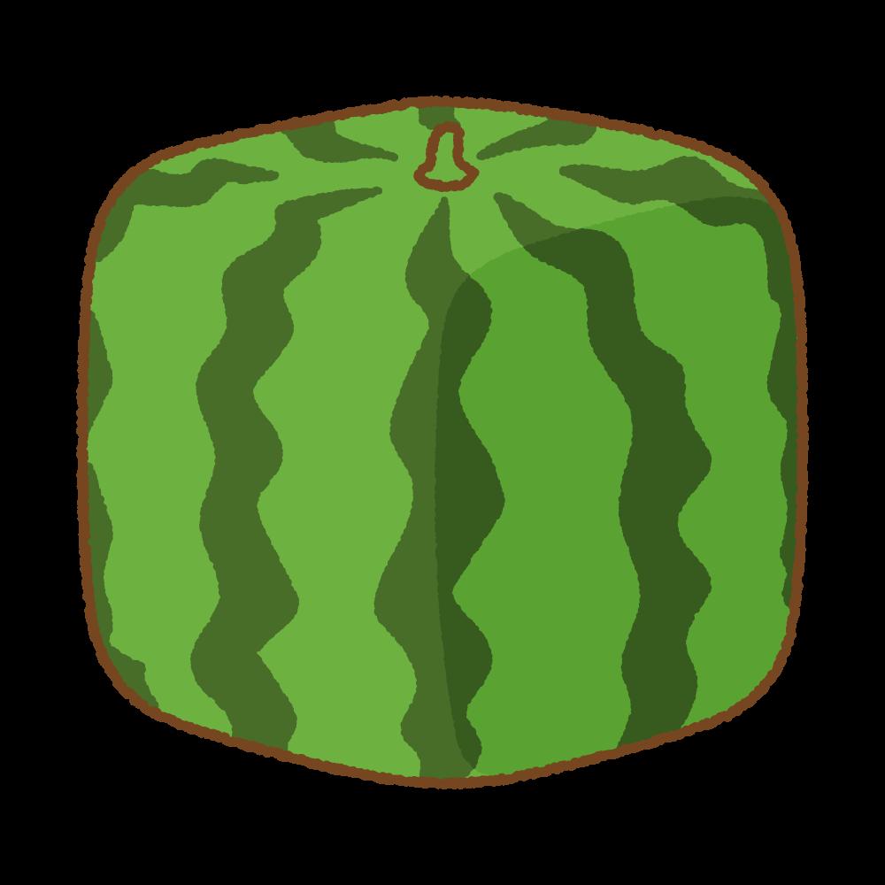 四角いスイカのフリーイラスト Clip art of cube-watermelon