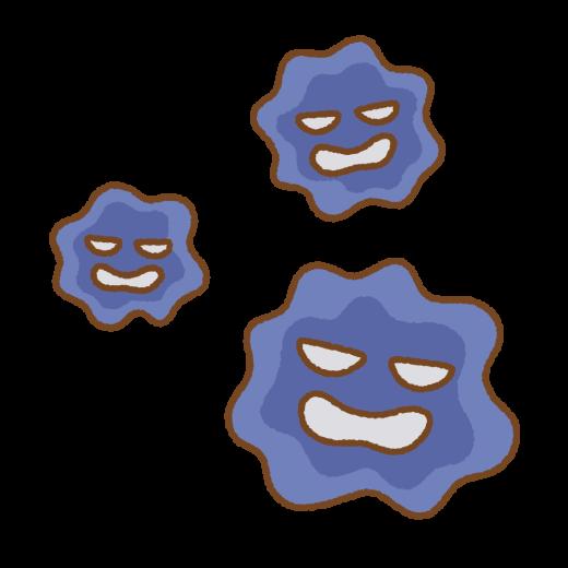 ばい菌のキャラクターのイラスト
