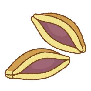 半分にしたどら焼きのフリーイラスト Clip art of dorayaki half