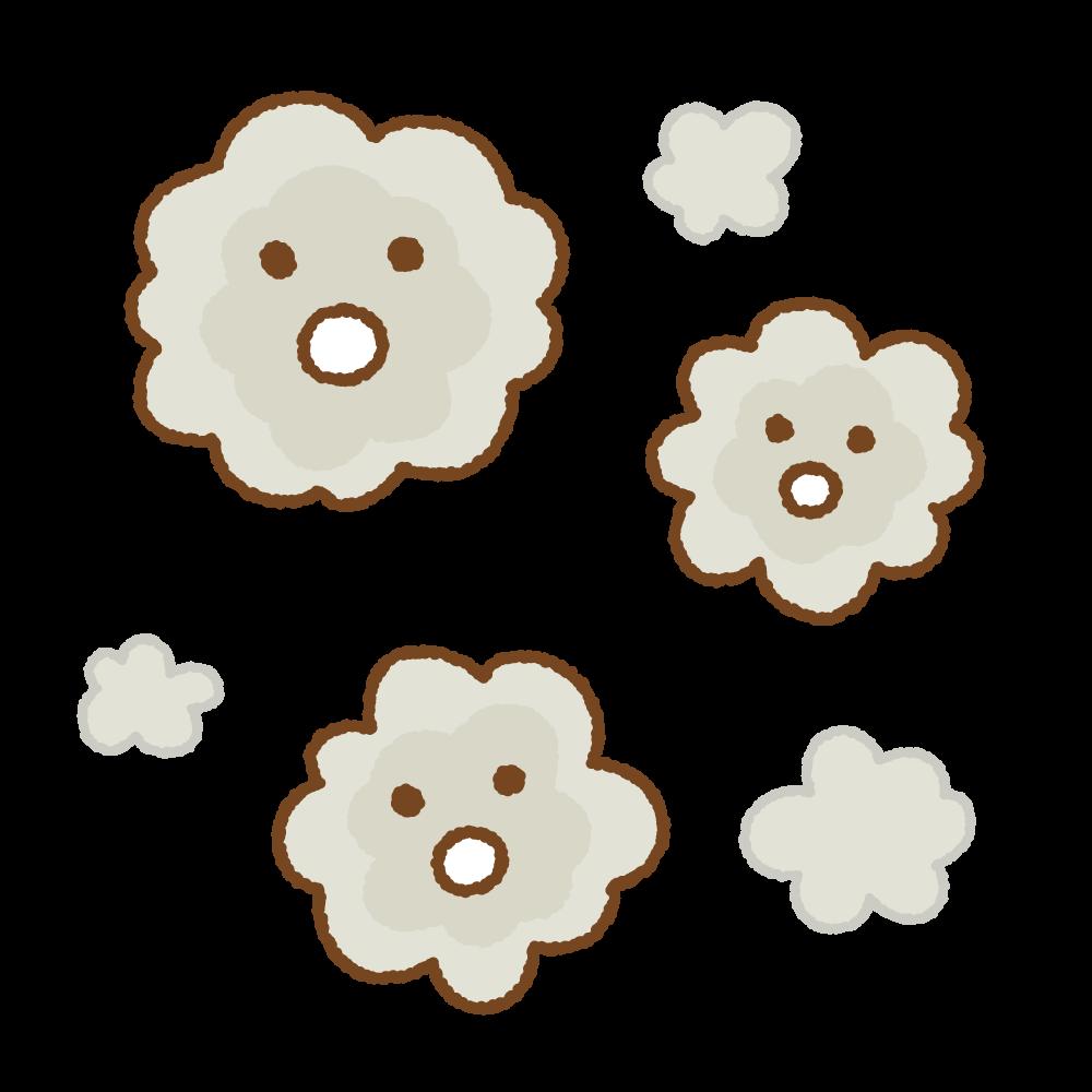ホコリのキャラクターのフリーイラスト Clip art of dust character