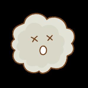 参ったホコリのキャラクターのフリーイラスト Clip art of dust chara
