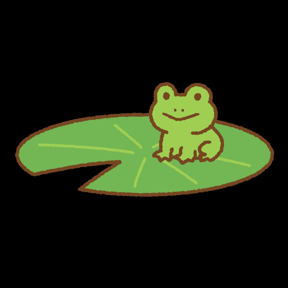 睡蓮にのったカエルのフリーイラスト Clip art of frog on lotus leaf