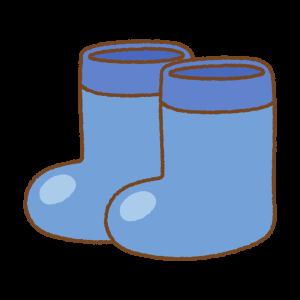 青い子供用長靴のフリーイラスト Clip art of kids rainboots blue