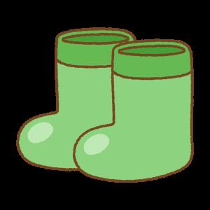 緑の子供用長靴のフリーイラスト Clip art of kids rainboots green