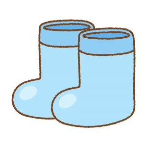 子供用長靴のフリーイラスト Clip art of kids rainboots