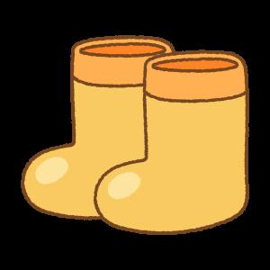 オレンジの子供用長靴のフリーイラスト Clip art of kids rainboots orange