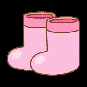 ピンクの子供用長靴のフリーイラスト Clip art of kids rainboots pink
