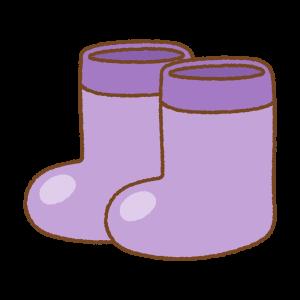 紫の子供用長靴のフリーイラスト Clip art of kids rainboots purple