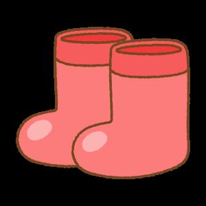 赤い子供用長靴のフリーイラスト Clip art of kids rainboots red