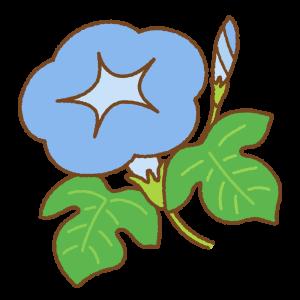 青いアサガオのフリーイラスト Clip art of blue morning-glory