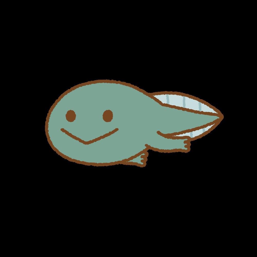 足が生えたおたまじゃくしのフリーイラスト Clip art of tadpole leg