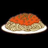 ミートソーススパゲッティのフリーイラスト Clip art of spaghetti meat sause