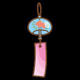 金魚の風鈴のフリーイラスト Clip art of fuurin-kingyo