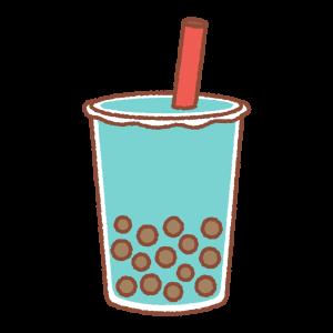 タピオカドリンク(青)のイラスト