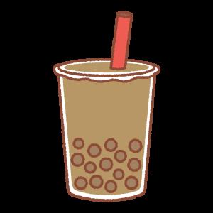 タピオカドリンク(茶色)のイラスト
