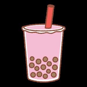 タピオカドリンク(ピンク)のイラスト