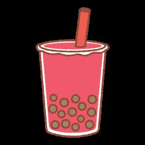 タピオカドリンク(赤)のイラスト