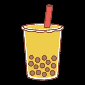 タピオカドリンク(黄色)のイラスト